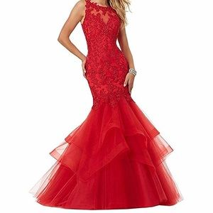 Red Lace Appliqué Formal Gown